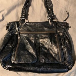 Shoulder The Sack midnight blue leather purse